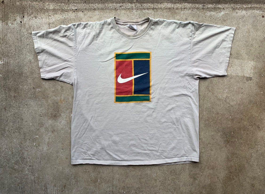 Nike Challenge Court Shirt Vintage 90s Supreme Tennis Tshirt Vtg Big Logo Spell Out Tee Andre Agassi Pete Sampras Xl Usa Made Https Etsy Me 2ip6hbh Nikecourt