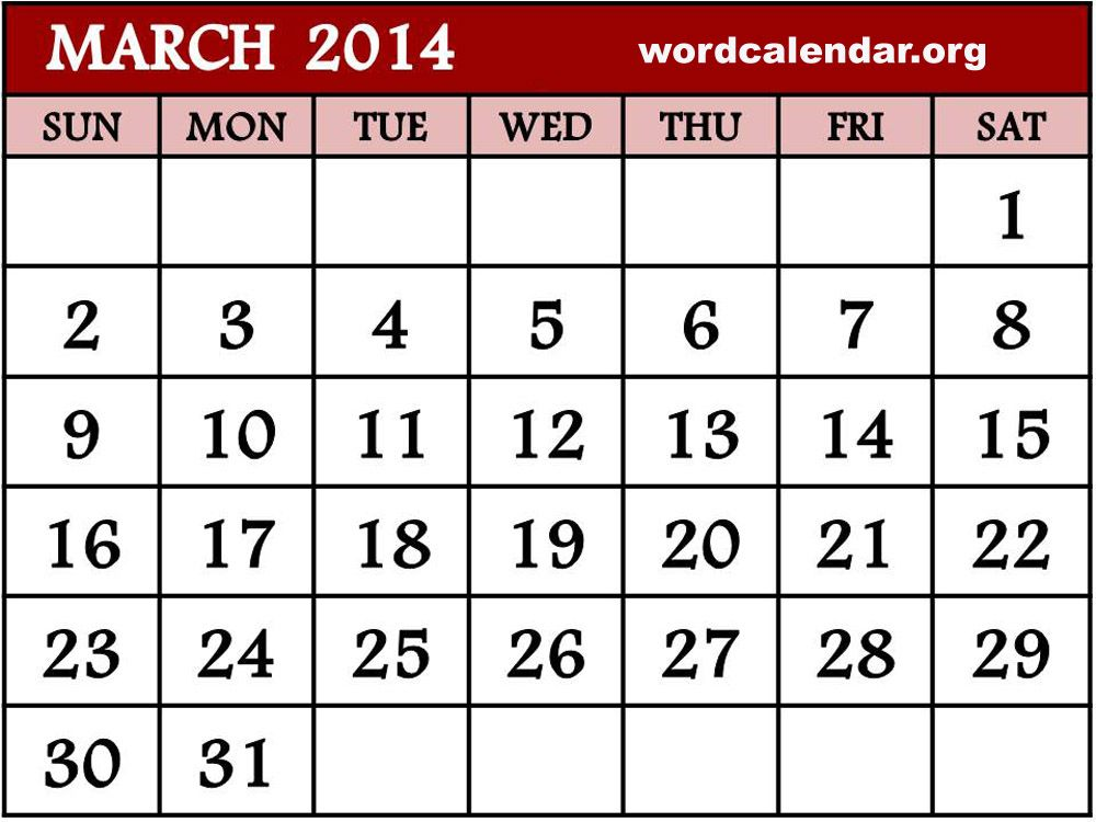 2014 Calendar Printable March 2014 Calendar Printable And Template