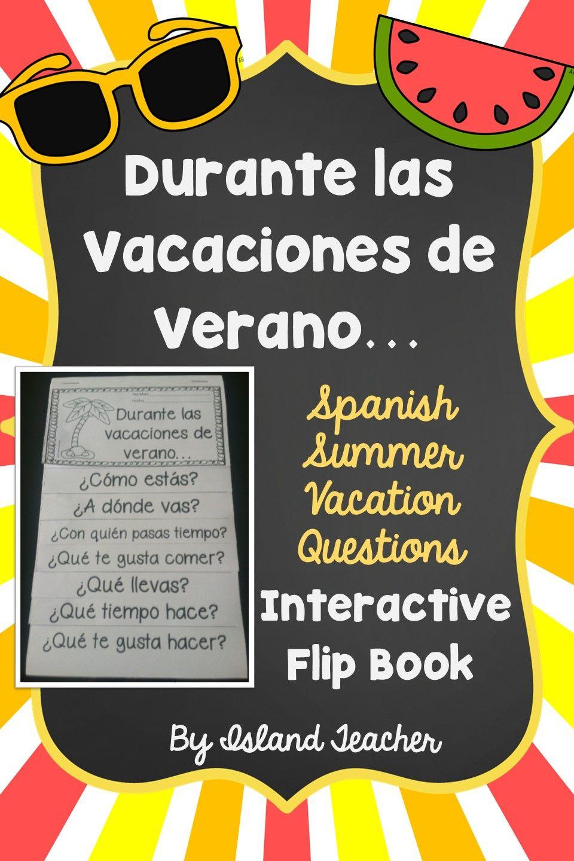Summer Vacation Spanish Questions Flip Book | SPANISH