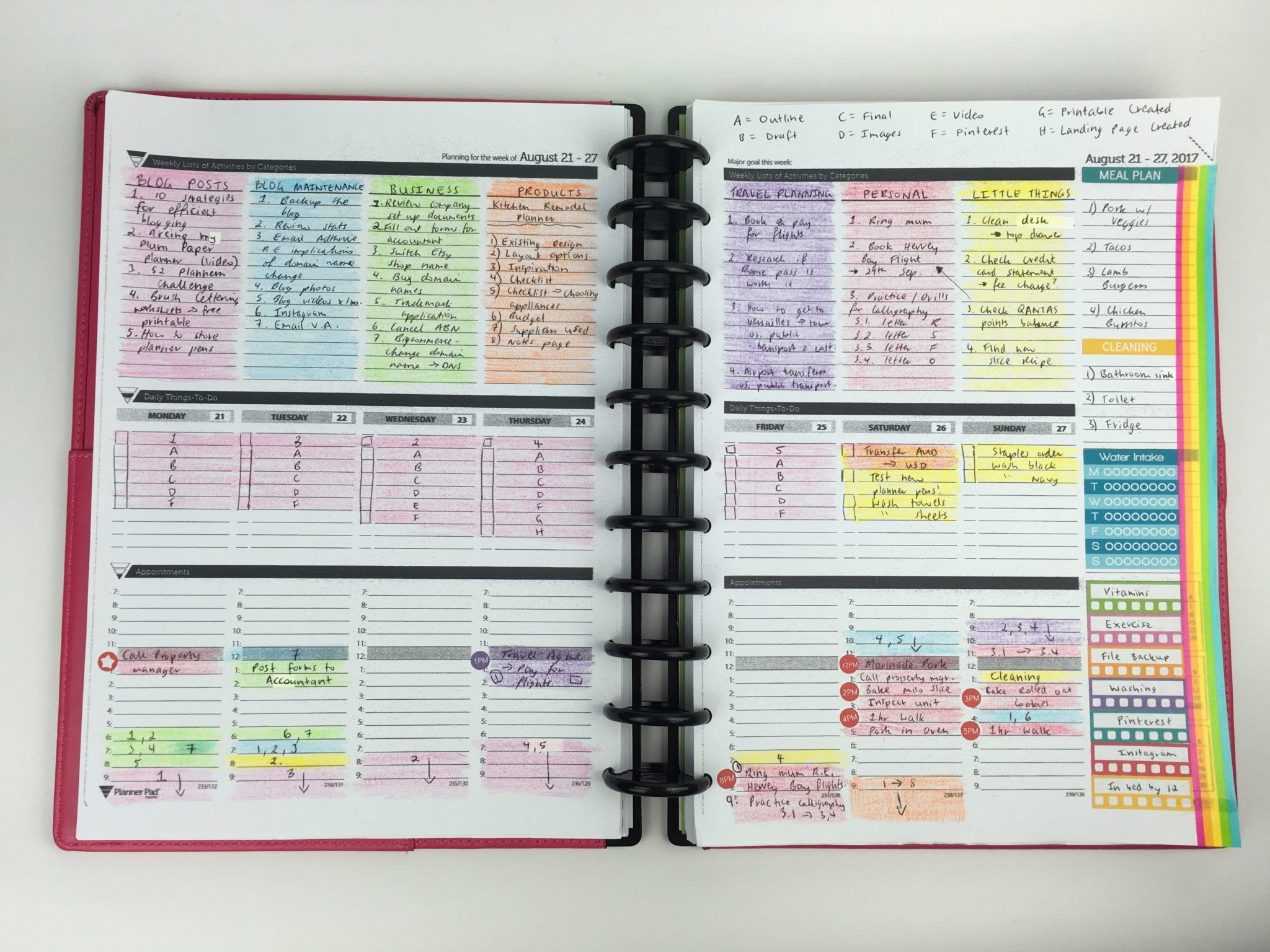 Review Of The Planner Pad Weekly Planner Week 34 Of The