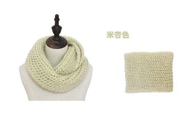 Autumn Winter Women Men Couple Warm scarf Candy Color Neckerchief Soft Scarves Knitted thicking O Ring Scarf
