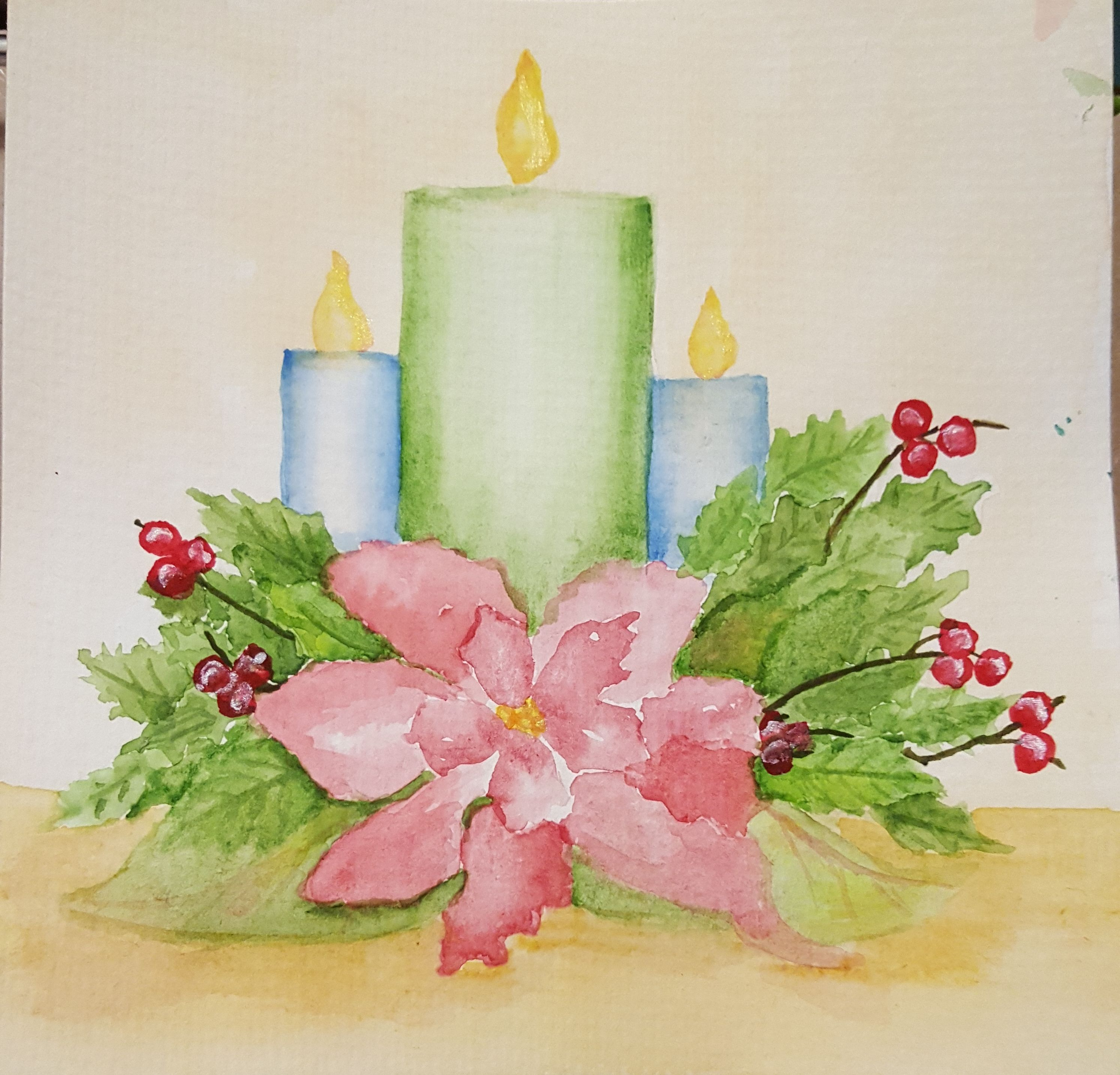 Poinsettia and candles christmas my watercolor paintings