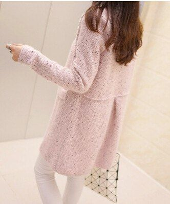 winter/spring and autumn women sweater outerwear medium-long loose pocket o-neck sweater Knit Cardigan coat