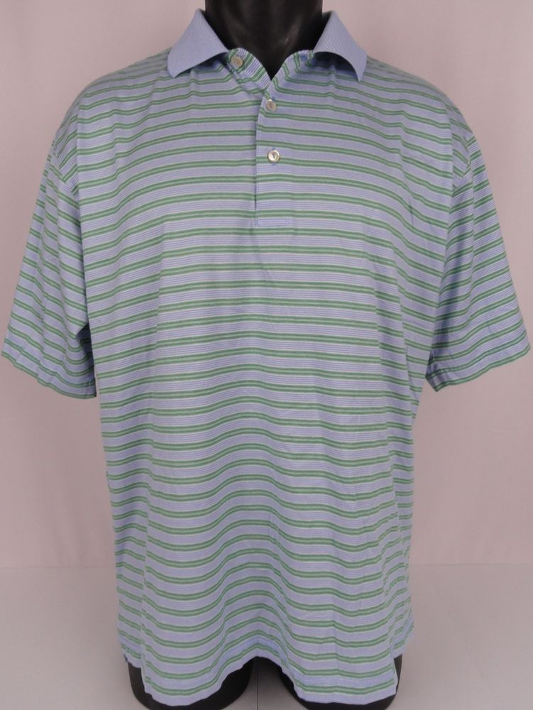 43f63a2ea00e13 PETER MILLAR Golf Polo Shirt Men s Large Blue Green Striped Short Sleeved  Cotton  PeterMillar  PoloRugby