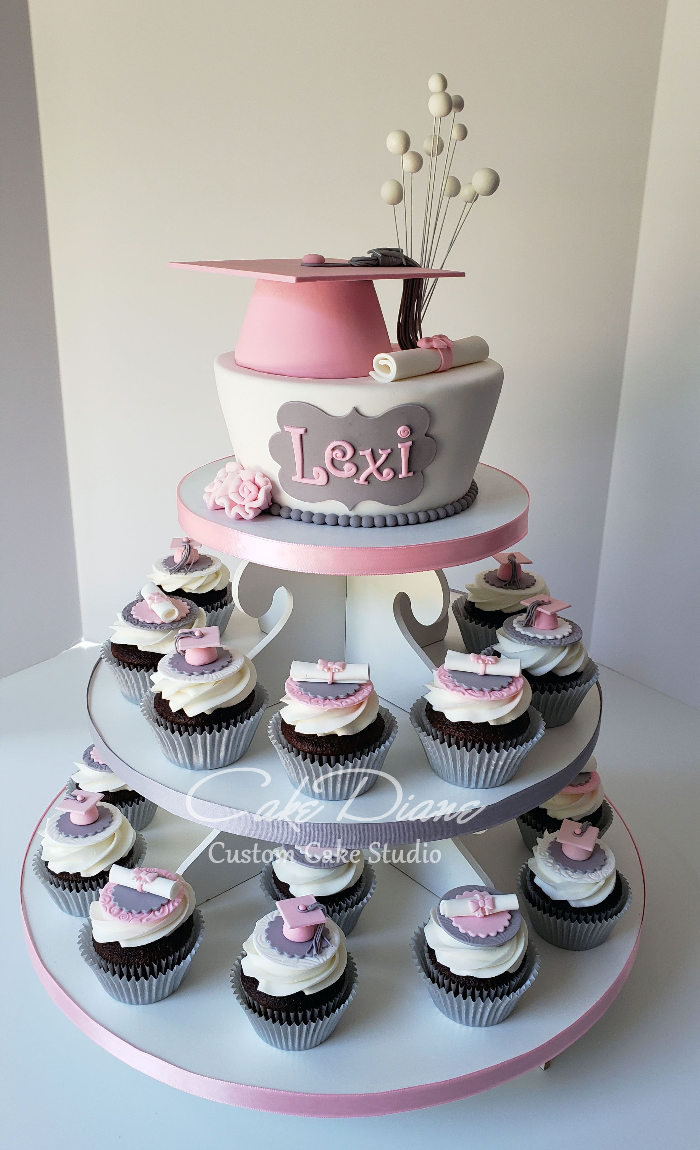 Pink And Grey Graduation Cupcake Tower Graduation Party Cake