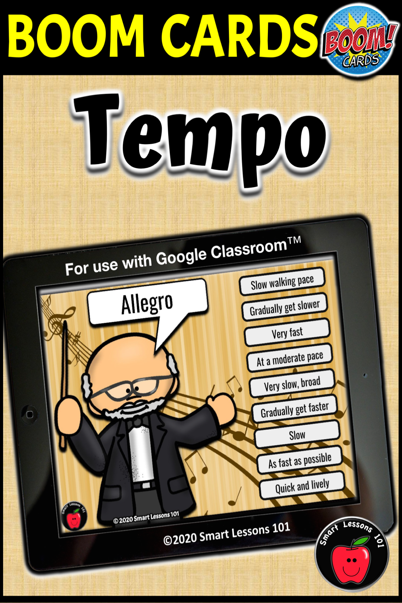 Distance Learning Tempo Boom Cards Music Activity For