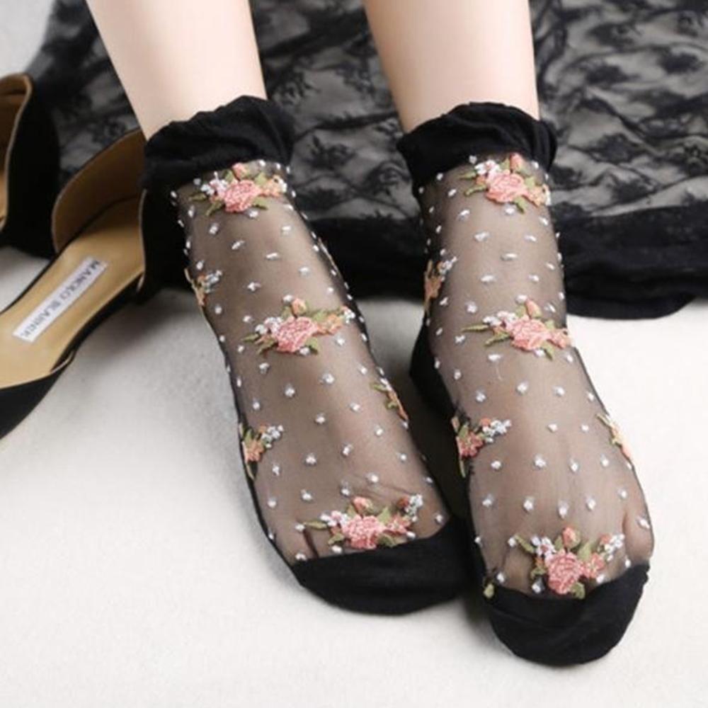1Pair Ultrathin Socks Transparent Crystal Rose Floral Elastic Short Sock Fashion