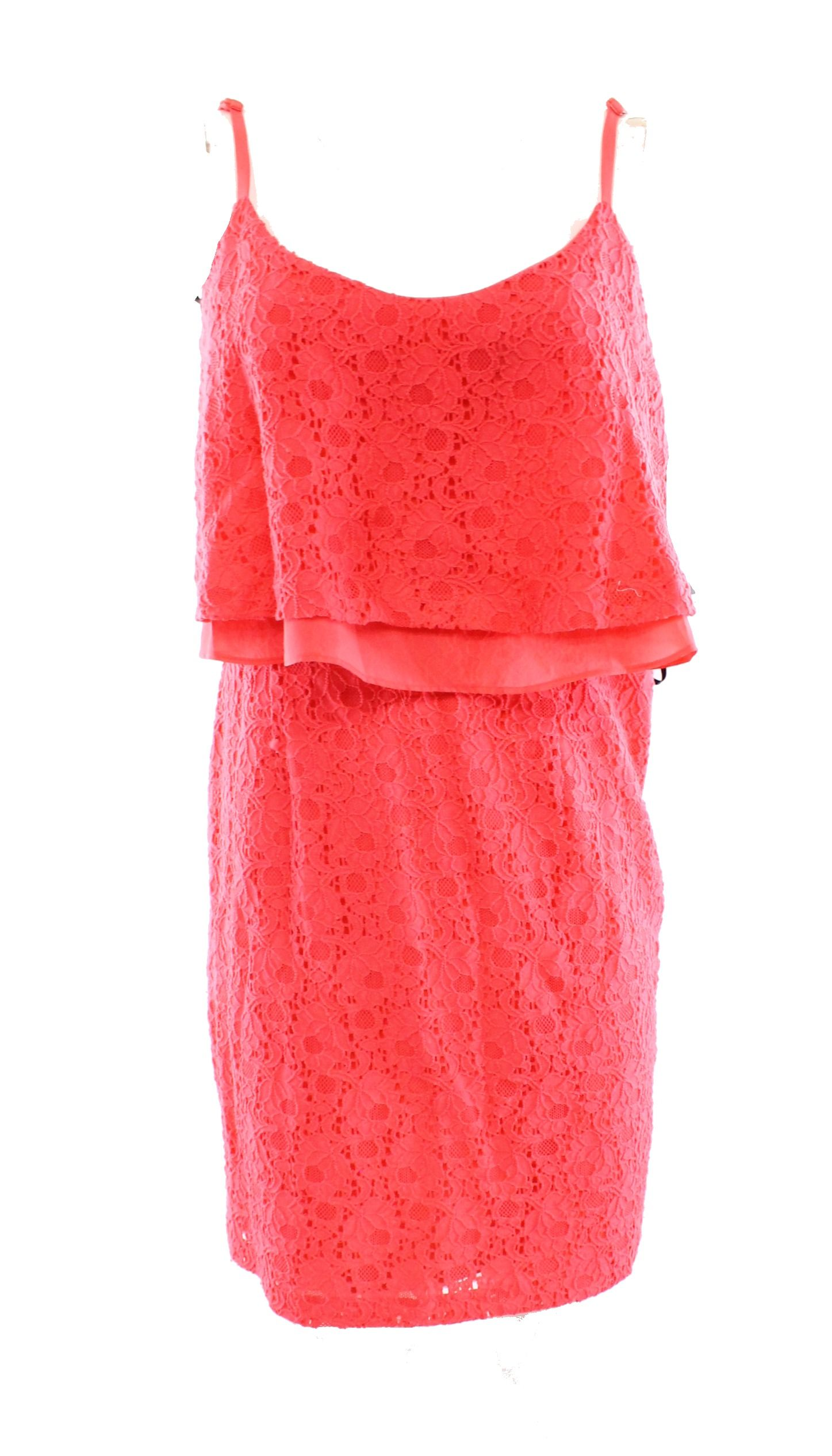 Guess NEW Pink Women's 10 Sheath Floral-Lace Popover Chiffon Dress ...