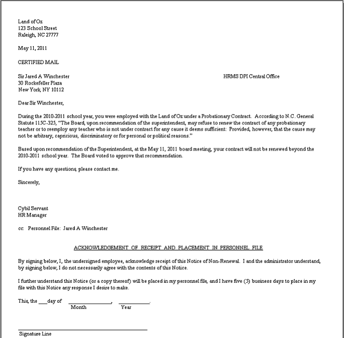 Job Termination Letter. Sample Employee Termination Letter Template ...