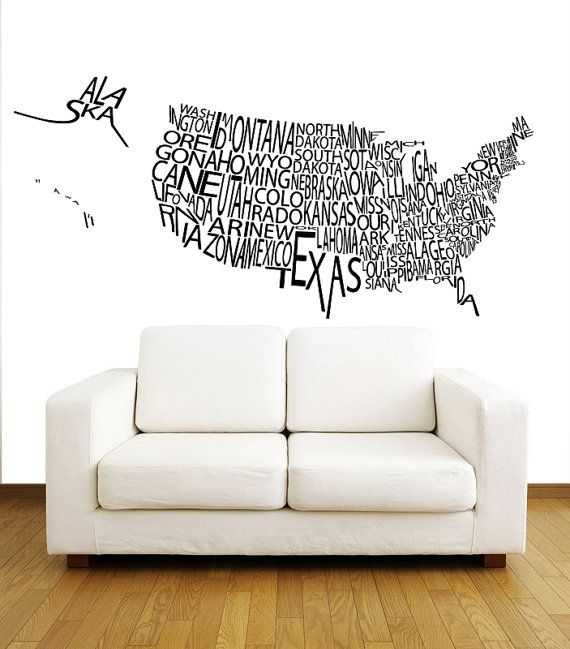 United States Us Map Wall Decals Country Words Wall Vinyl Decal