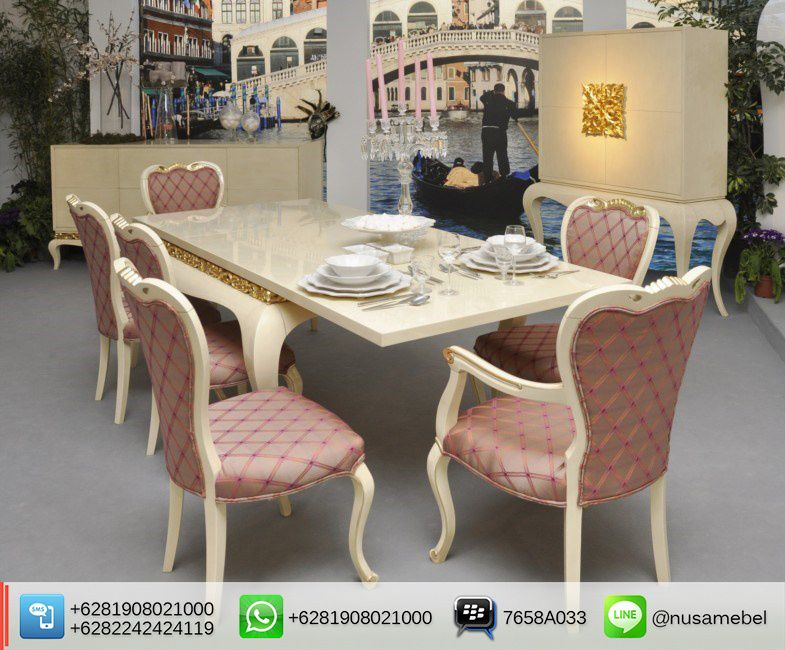 Mahogany Dining #Table Set White Gold Luxus 2nd View #MejaMakan Mahoni #Jepara Finishing Putih Duco & Emas Luxus. We send it worldwide. For more info please contact us via: BBM : 7658A033 Call WA : 6281908021000 Inquiry : info@nusamebel.com Website : nusamebel.com #NusaMebel #Mebel #Meuble #MebelJepara #FurnitureJepara #MebelRumah #DiningFurniture #ReproductionFurniture #MejaJepara #MejaJati #KursiJati #FurnitureDesign #FurnitureInterior #LouisTable #LouisChair #KursiMakan #DiningTable…