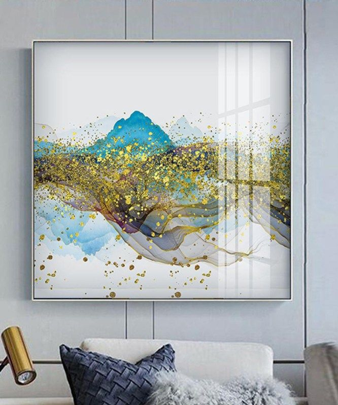Abstract Canvas Painting Grey Blue Flowing Color Poster Print Wall Art for Living Room Bedroom Dinning Room Unique Decor-60x120cm No Frame