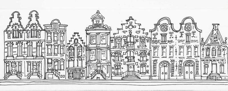 Gevels amsterdam tekening google zoeken sint for Huizen tekenen