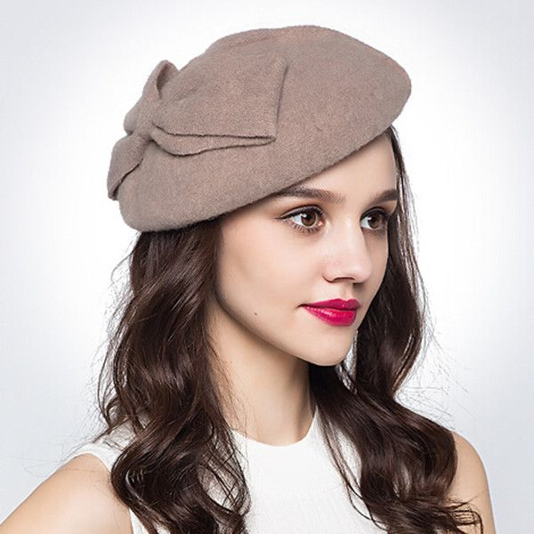 f0cf4c9254ce2 Large bow beret hat for women elegance winter wool hats