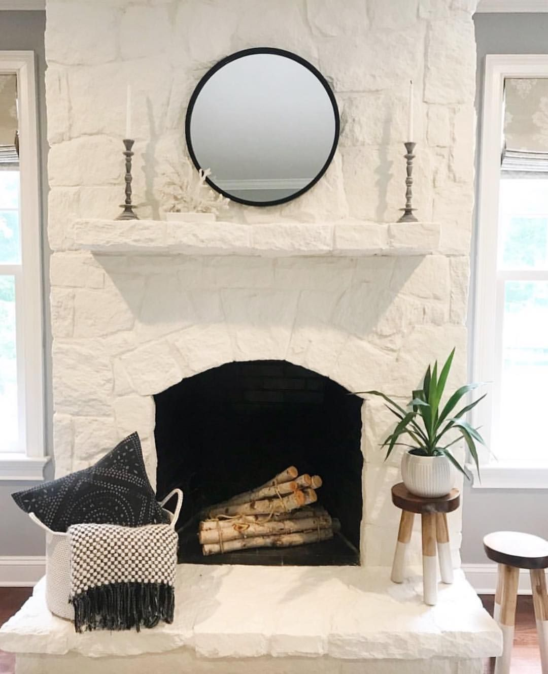 Love This White Painted Stone Fireplace Makeover By My Neighbor Heathhostett Painted Stone Fireplace Painted Stone Fireplace Makeover Stone Fireplace Makeover