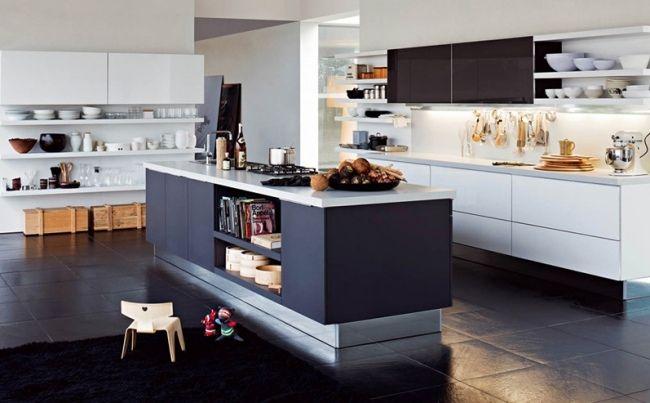 moderne küche-mit kochinsel-stauraum aufbewahrung-einbau ... - Kochinsel