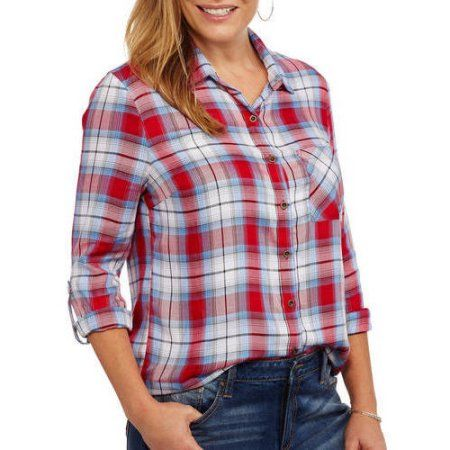 91b659b269be1 Faded Glory Women s Rayon Plaid Button-up Shirt with Roll-Tab Sleeve ...