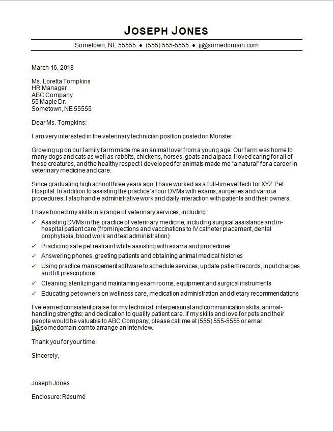 Cover Letter For Human Resources Technician