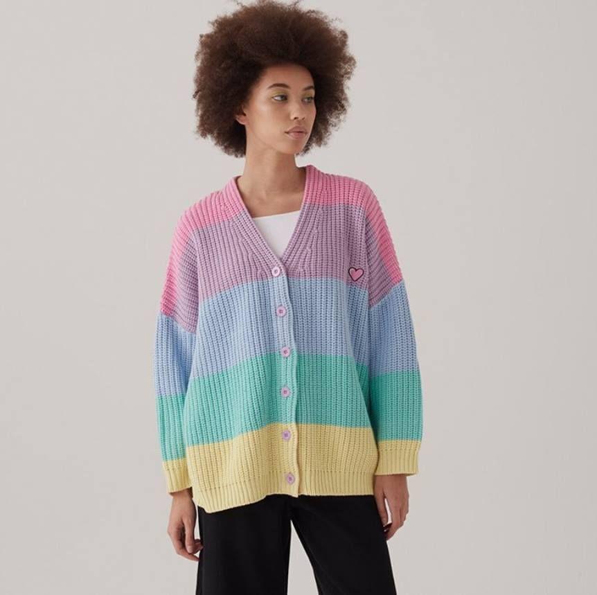 Lazy Oaf Pastel Stripe Rainbow Cardigan Clothes Pastel Cute