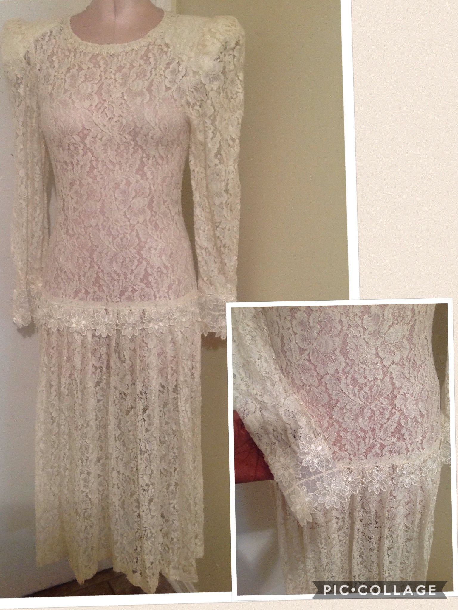 Beautiful lace off white dress best fit 3/4 5/6