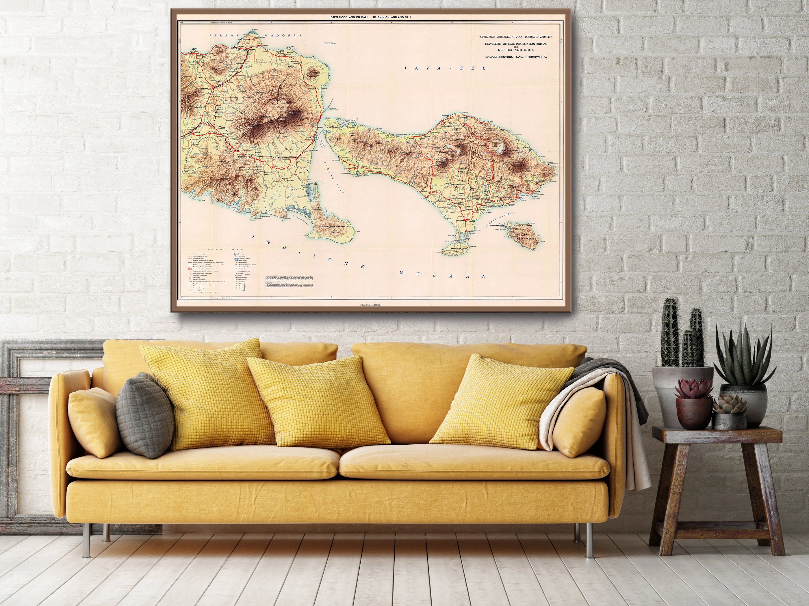 Vintage Bali Indonesia 1932 Map Of Eastern Java And Bali In
