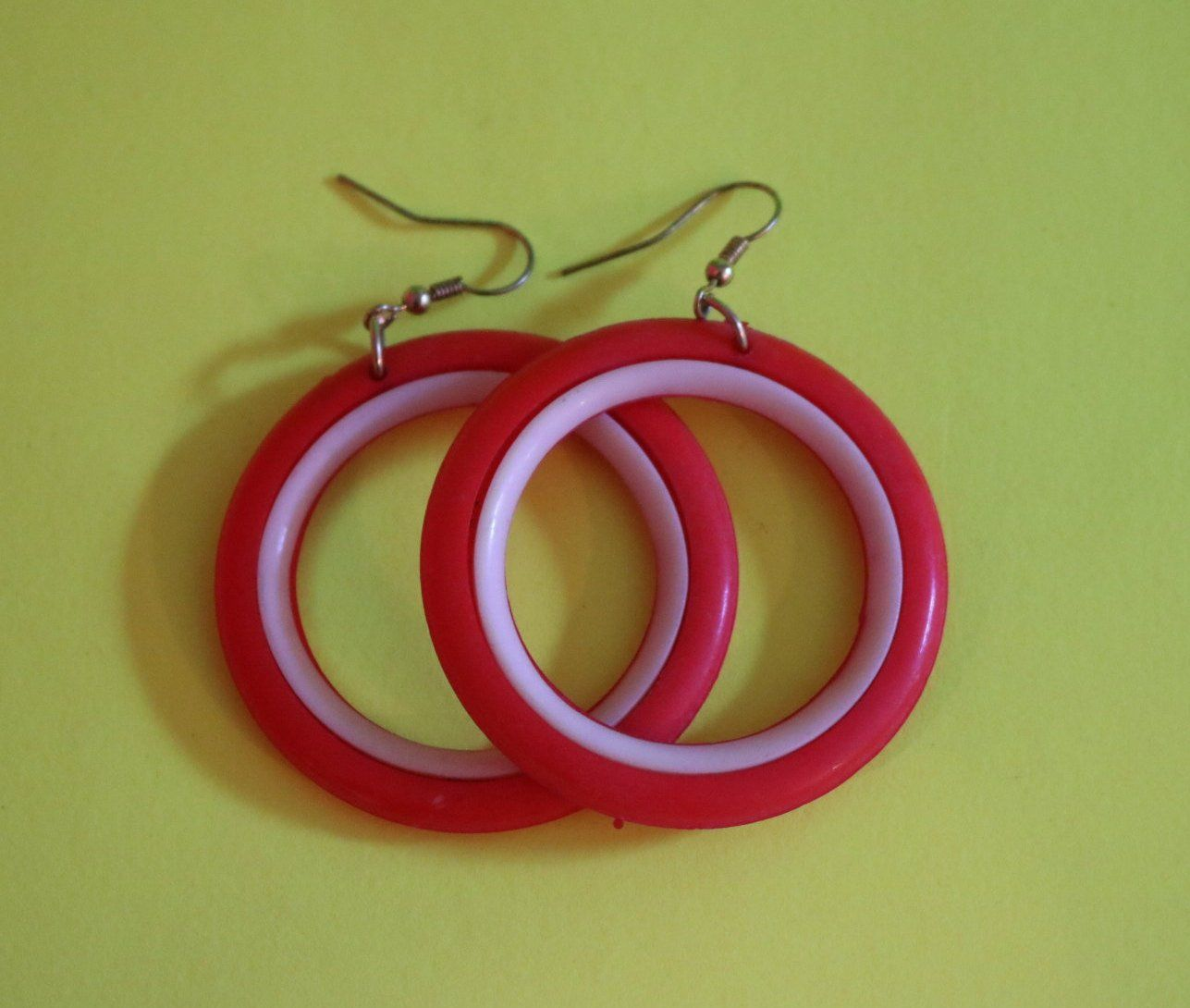 Vintage New Red And White Plastic Earrings By Dersbizarre On Etsy