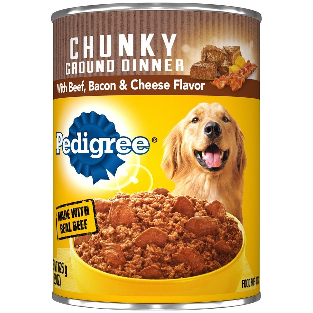 Pedigree Beef Bacon Cheese Meaty Ground Dinner Wet Dog Food 22oz