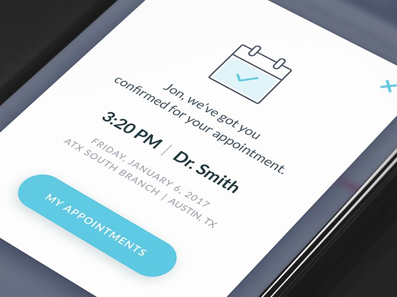 Appointment Confirmation | Mobile UI Examples | Appointments