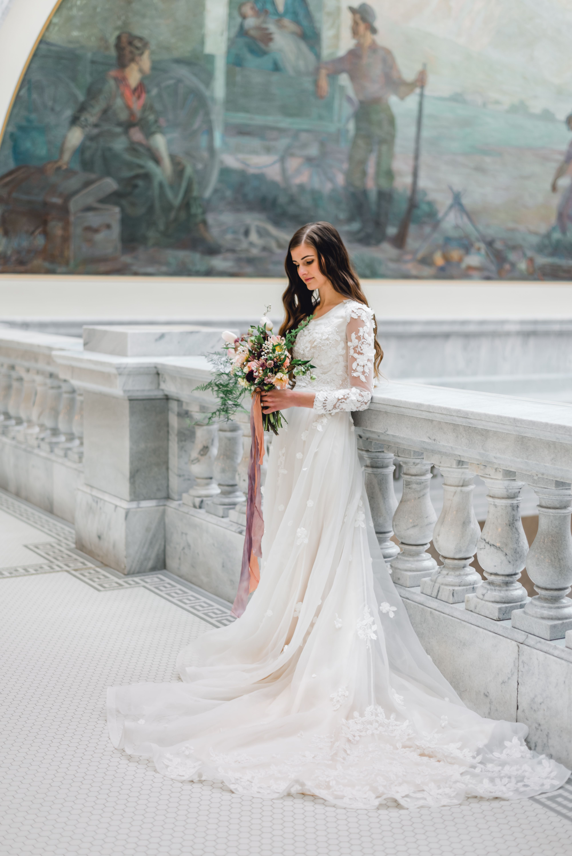 Victoria Gown Transcendent Collection By Elizabeth Cooper Design Beautif Modest Wedding Dresses With Sleeves Modest Wedding Dresses Wedding Dress Inspiration