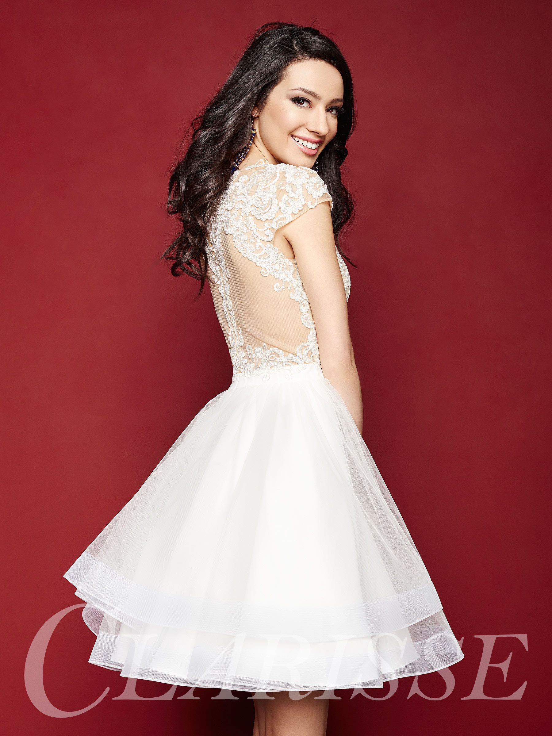 Look Sweet And Darling In This Tulle Hoco Dress 3362 By Clarisse Short Cap Sleeve D White Pageant Dresses Homecoming Formal Dresses Rehearsal Dinner Dresses [ 2400 x 1800 Pixel ]