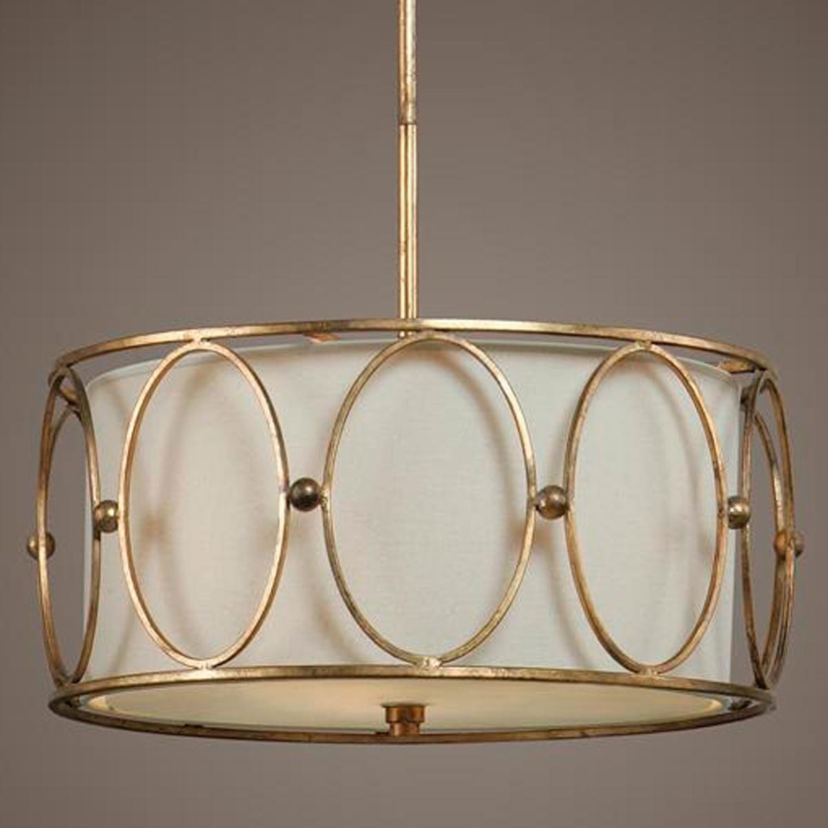 Golden Ovals Metal Cage Pendant Drum Pendant Pendant