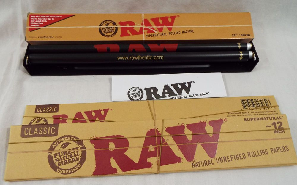 Raw Brand 3 Piece Set Supernatural Size 12 Inch 30 Cm 2 Papers 1 Roller 34 Paper Rolling Paper Roller