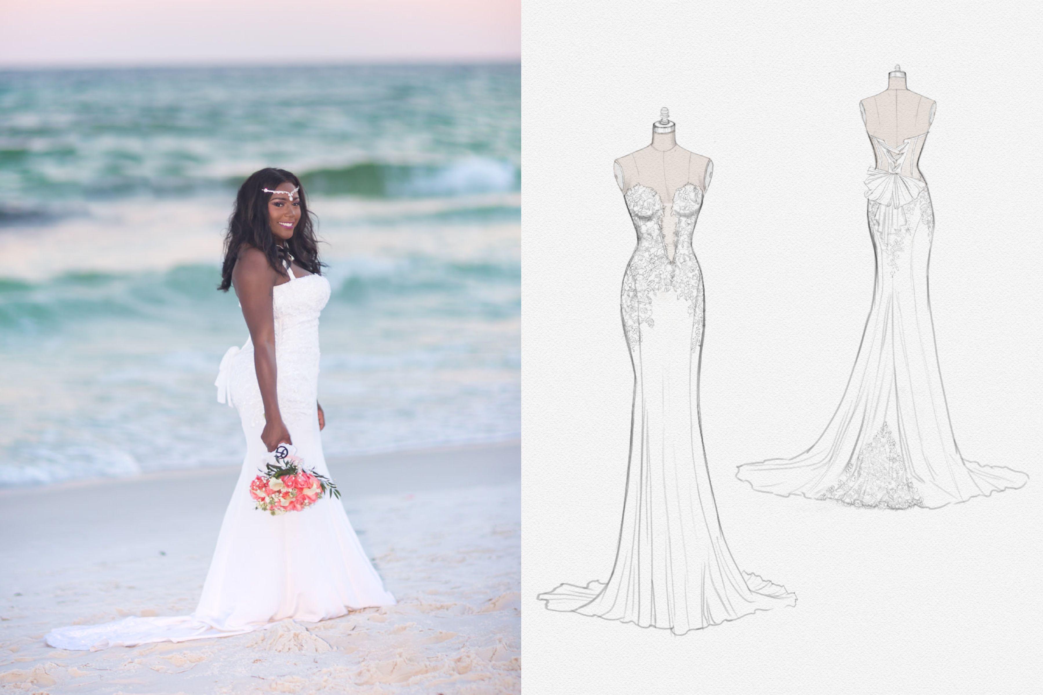 Beachside wedding + custom Anomalie gown. Casual beach