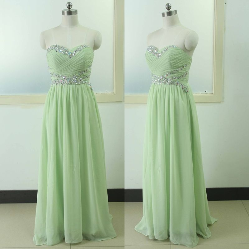 Sage Prom Dress Beading Crystal Backless Evening dress Custom Wedding Party Gown Sexy Sweetheart Chiffon Bridal Wedding Party Gown