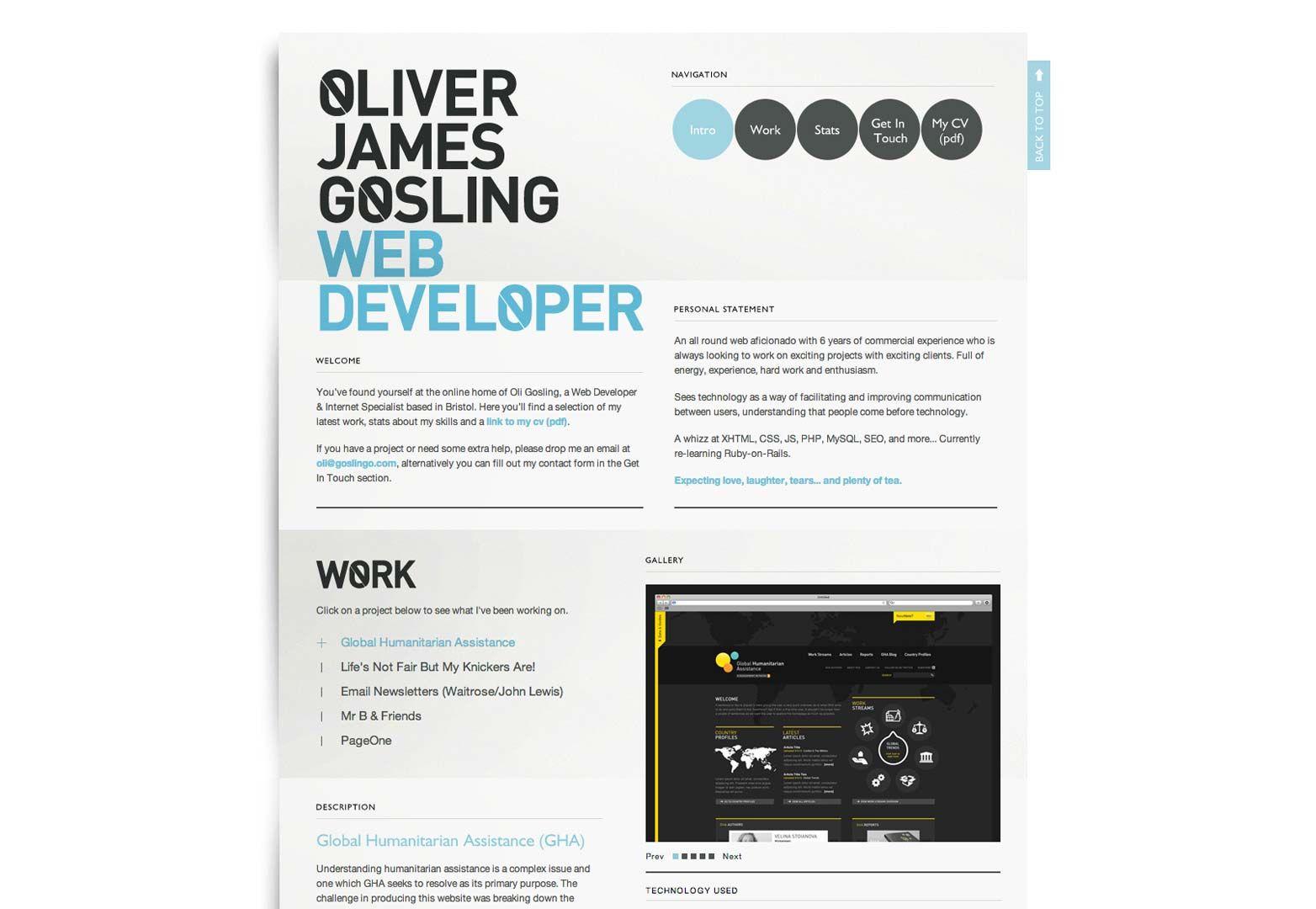 page web cv ligne design