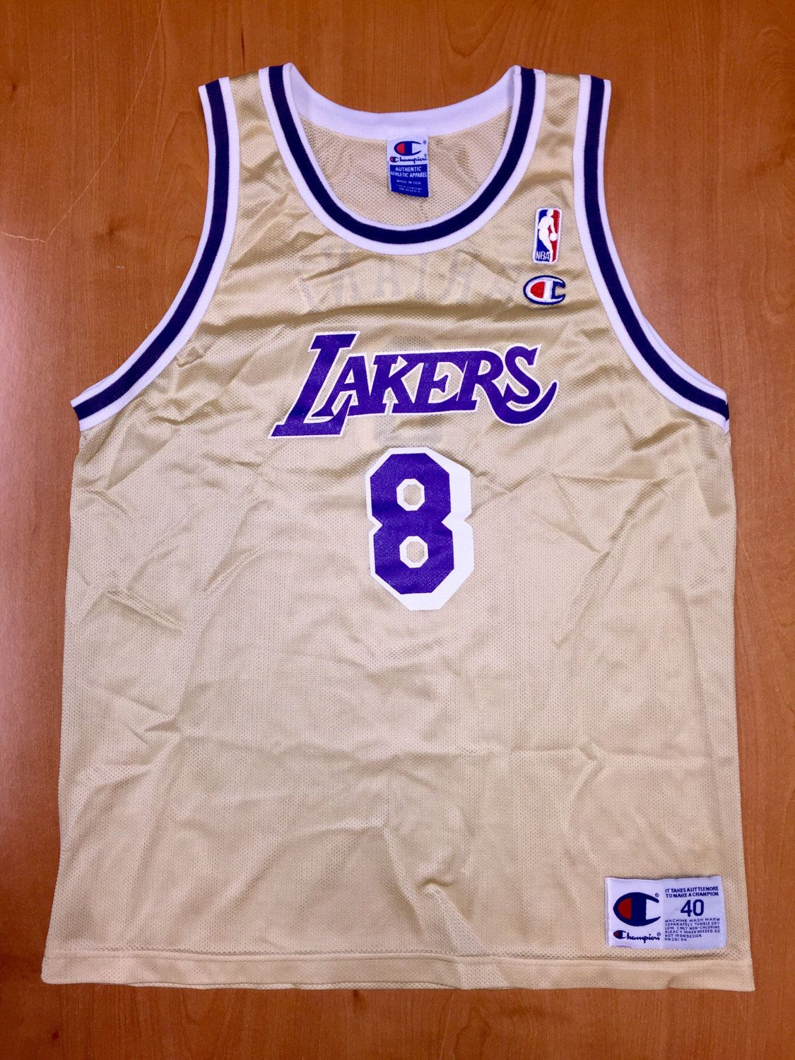 40eec30a9e05 Vintage 1998 Kobe Bryant LA Los Angeles Lakers Gold Champion Jersey Size 40  shaquille o neal magic johnson michael jordan nba finals shirt by ...