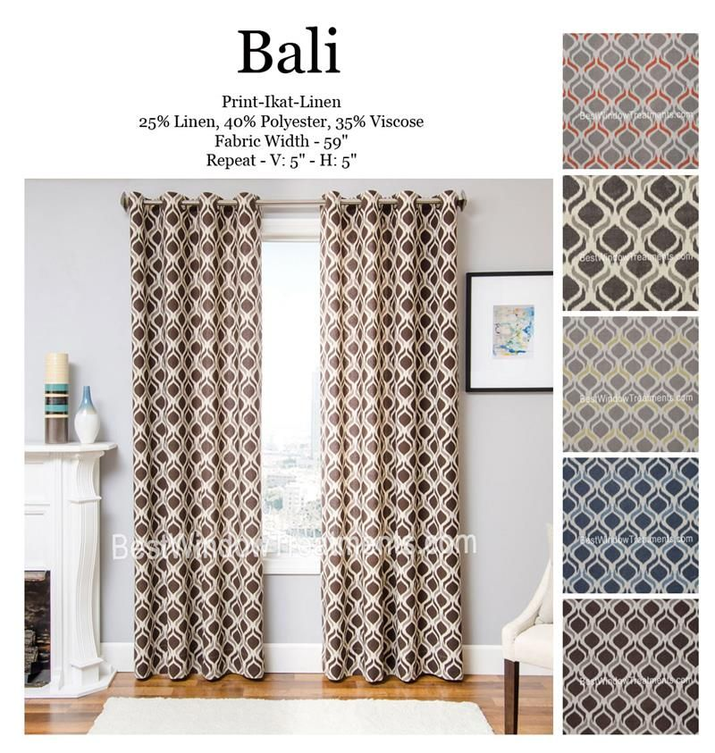 Bali Ikat Curtain Drapery Panels In Standard Size And Extra Long 108 Inch Curtains Or 120 Drapes With Lining Interlining Blackout Options Grommet