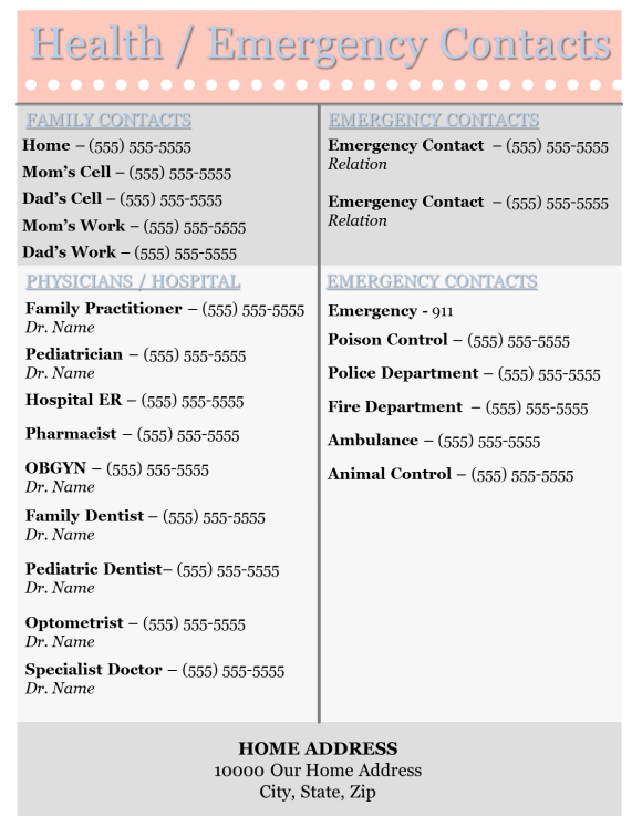 Health Emergency Contact List Template Home Management