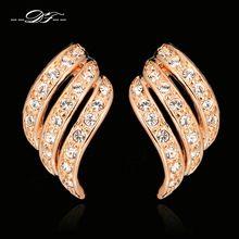 Vintage CZ Diamond Angle Wings Stud Pendientes Al Por Mayor de 18 K Rose Cristal…
