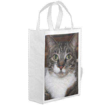 Pet Tabby Cat Face Photo Grocery Bag Cat