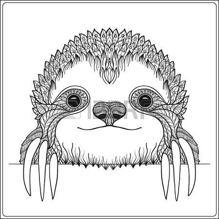 Sloth Head Decorative Cute Sloch Outline Vector Illustration