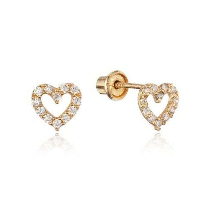 Baby and Children\'s Earrings: 14k Gold Clear CZ Open Heart Screw ...