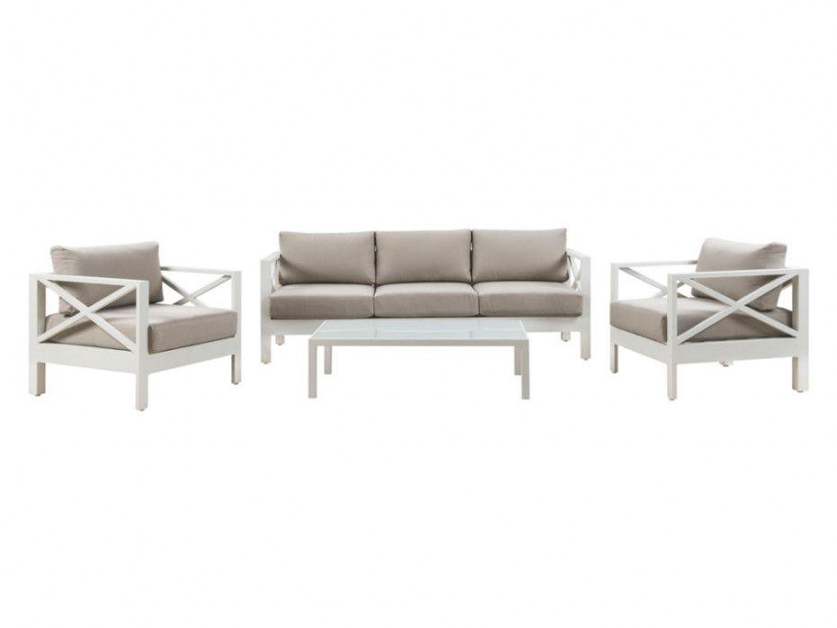 Salon De Jardin Seram En Aluminium Blanc Et Coussins Taupe Un