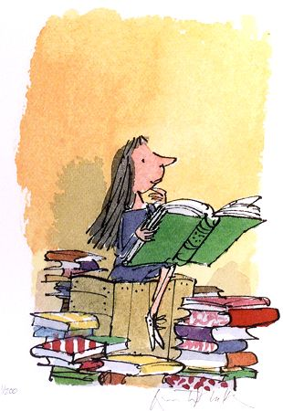 Illustratie van Quentin Blake voor Mathilda van Roald Dahl. Match made in heaven. MvdM