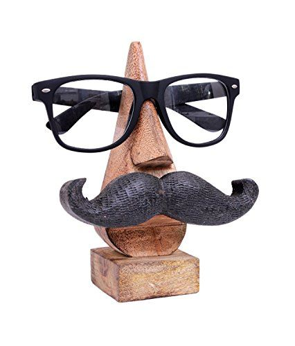 Christmas Gifts Quirky Hand Carved Nose Shaped Wooden Spectacles Sunglasses or Eyeglass Holder Stand by Store Indya Ps8KAWA0d