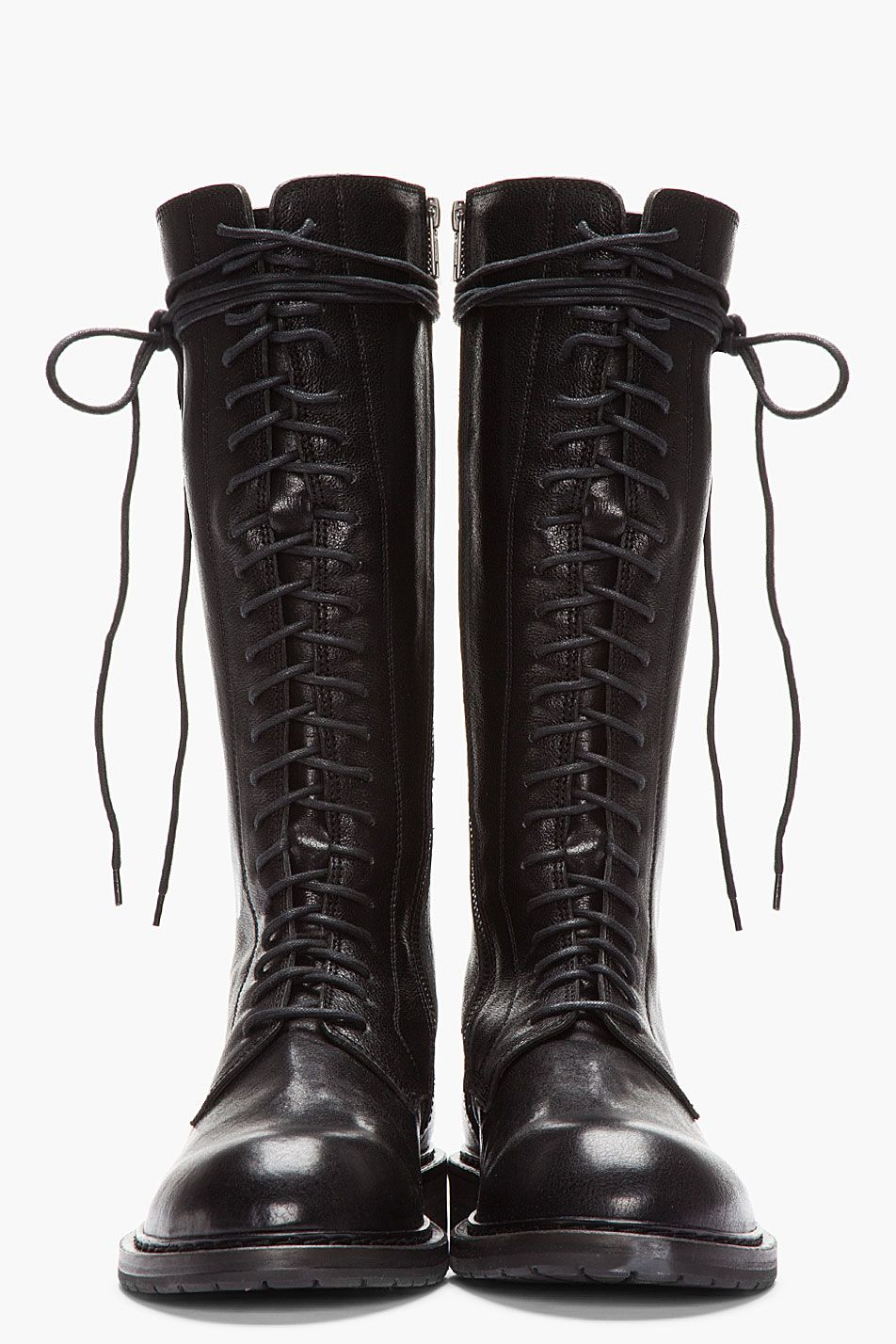 NEW FASHION WOMEN SHOES LACE UP MID CALF MILITARY COMBAT BOOTS ANNE - 01 / BLACK