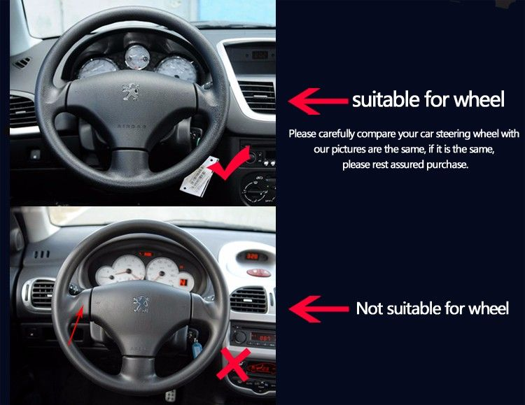 Bannis Black Artificial Leather Diy Hand Stitched Steering Wheel Cover For Peugeot 208 Peugeot 2008 Car Special Steering Wheel Cover Steering Wheel Leather Diy