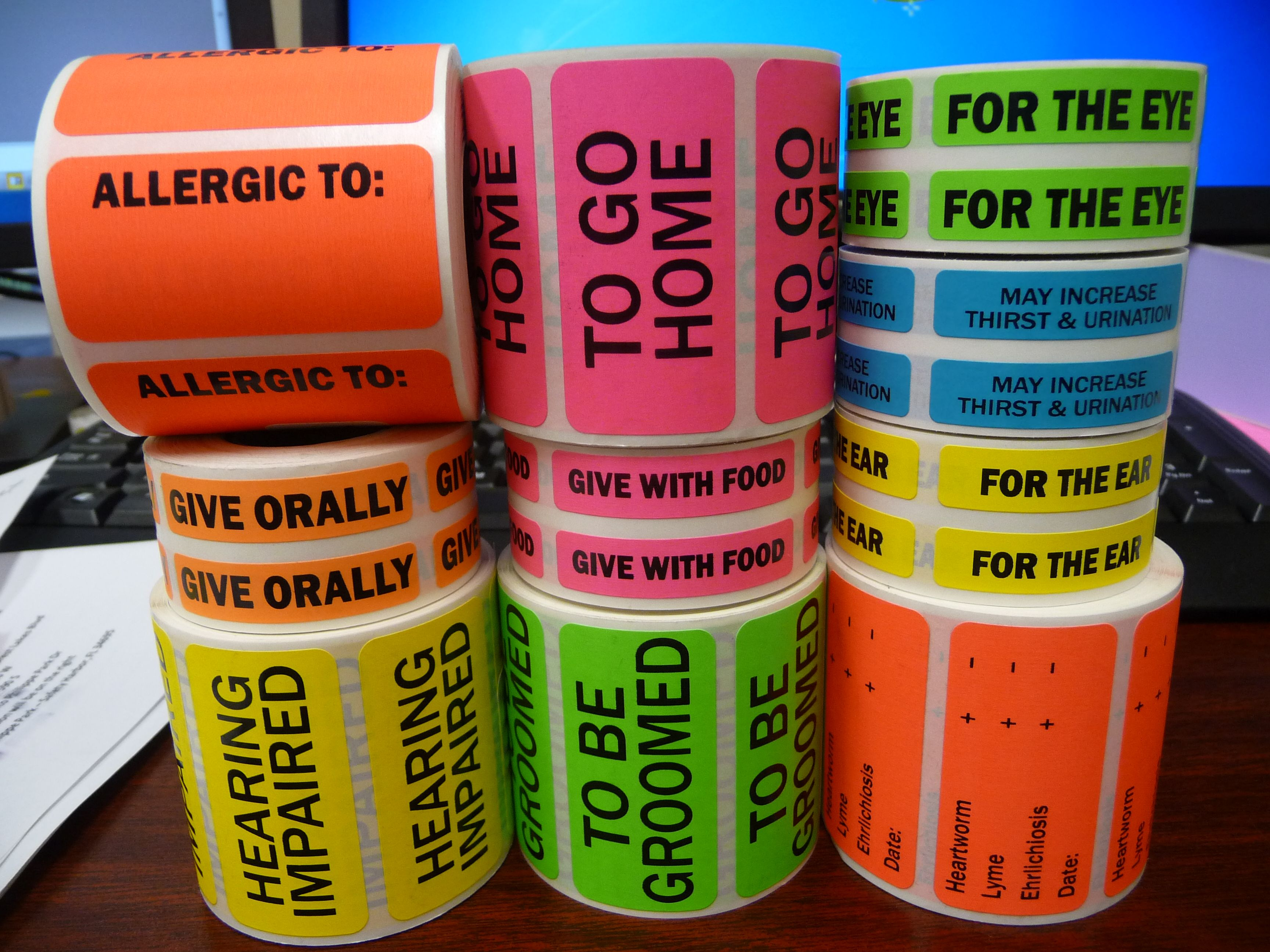 Cage Chart Labels For Veterinarian Offices Labels Veterinay