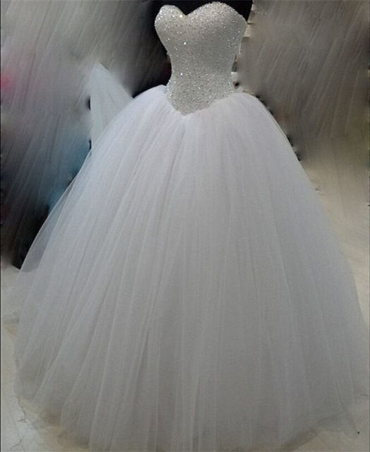 Luxus Weiß Schwere Perlen Prinzessin Hochzeitskleid 2015 Echt Fotos Tulle Ballkleid Brautkleid vestidos de noiva princesa SL-W72 #tulleballgown