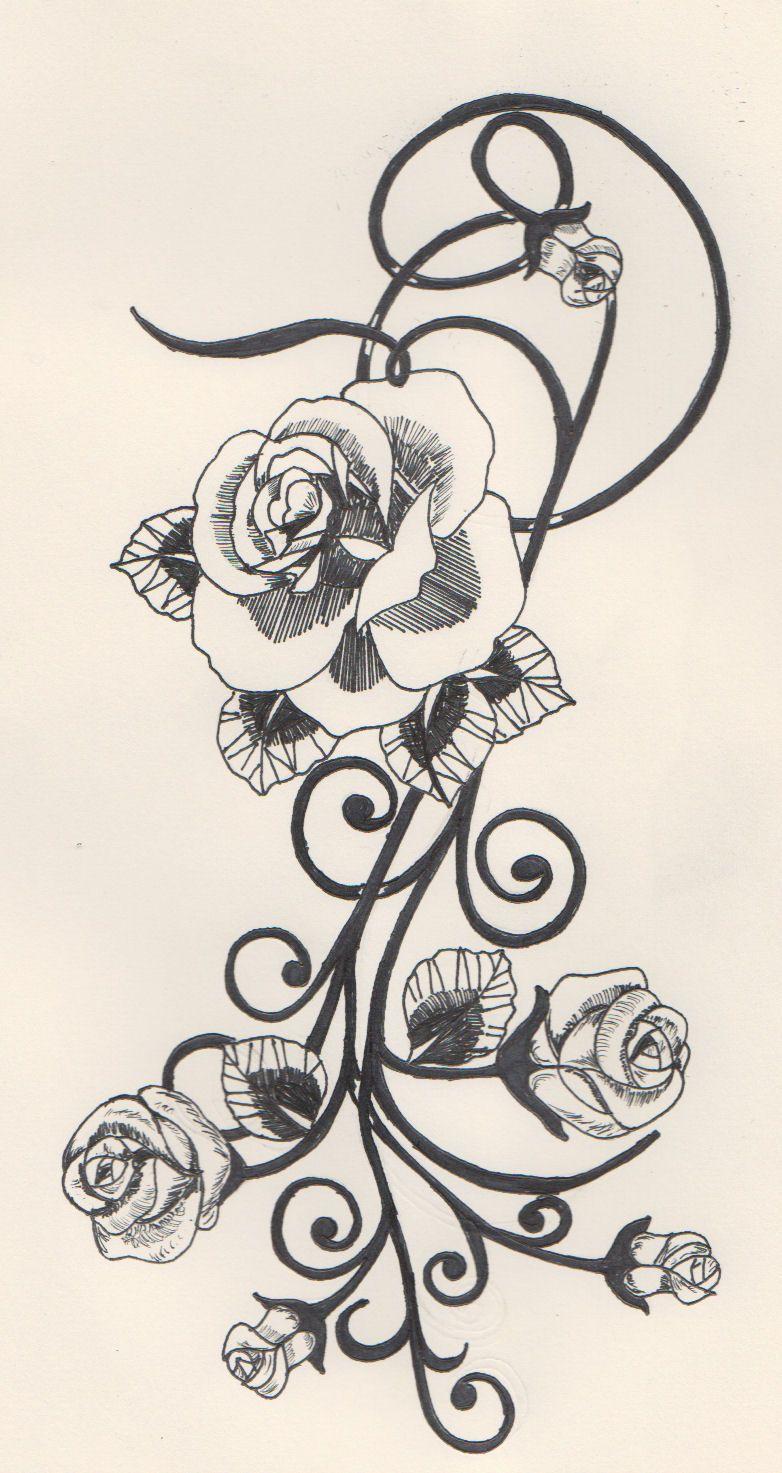 Rose And Swirl Tattoo Google Search Swirl Tattoo Virgo Tattoo Tribal Tattoos